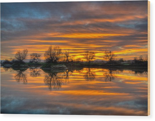 Sunrise Reflection In The River Wood Print