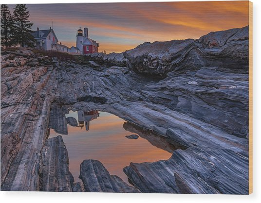Sunrise Reflections At Pemaquid Point Wood Print