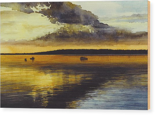 Sunrise Rockland Harbor Wood Print