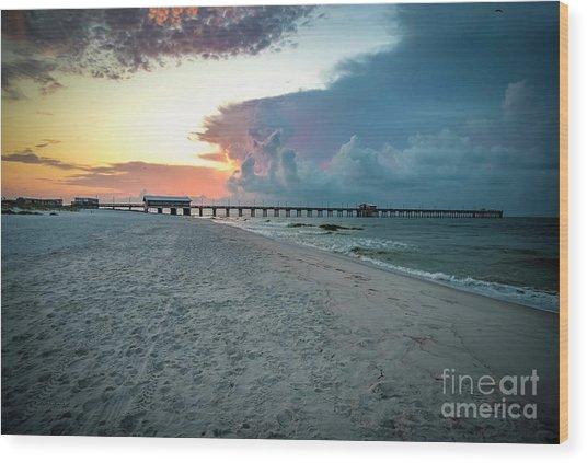 Sunrise Seascape Gulf Shores Al Pier 064a Wood Print