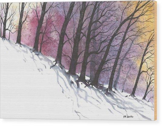 Sunrise Snow Wood Print