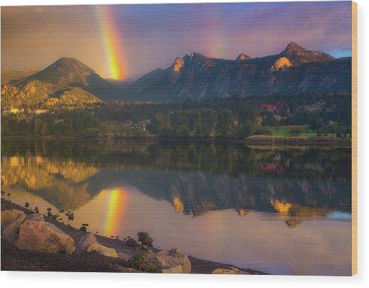 Sunrise Summer Rainbow In Colorado Wood Print