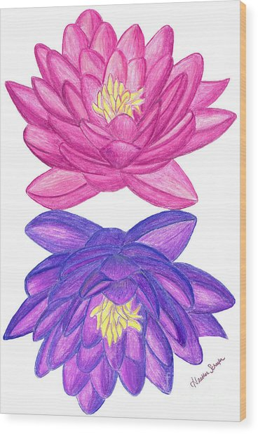 Sunrise Sunset Lotus Wood Print