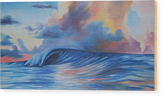 Sunrise Surf Wood Print by Katherine  Fyall