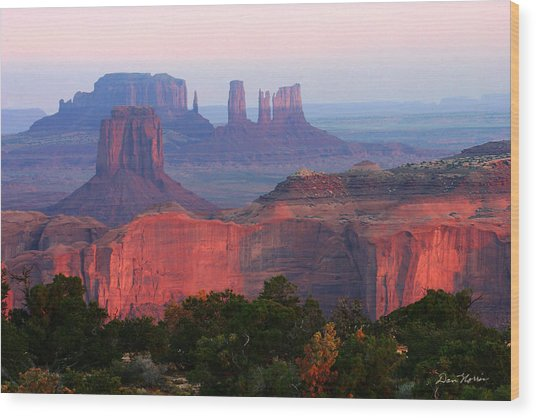 Sunrise Telephoto From Hunt's Mesa Wood Print