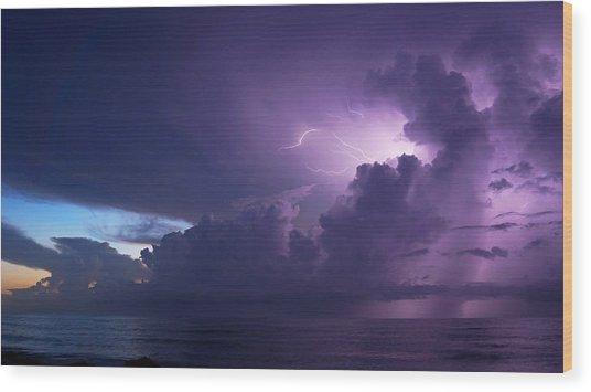 Sunrise Thunderstorm Wood Print