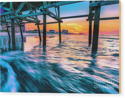 Sunrise Under Cherry Grove Pier Wood Print