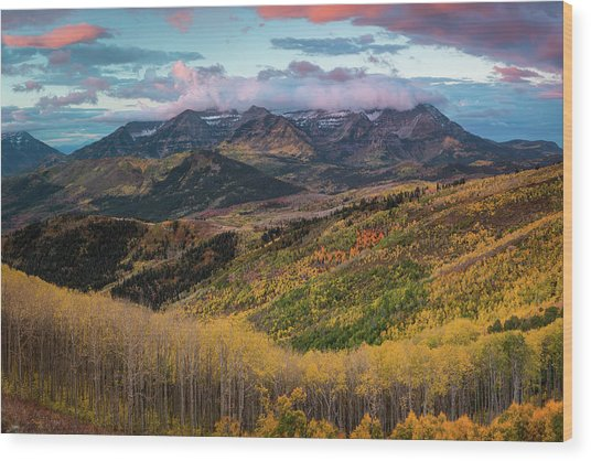 Sunrise View Of Mount Timpanogos Wood Print