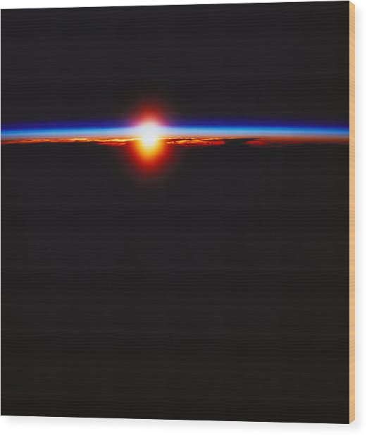 Sunrise Viewed From Space Wood Print