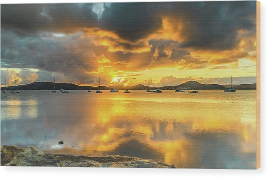 Sunrise Waterscape With Reflections Wood Print