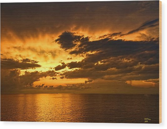 Sunrise With A Rain Shower Wood Print by Bill Perry