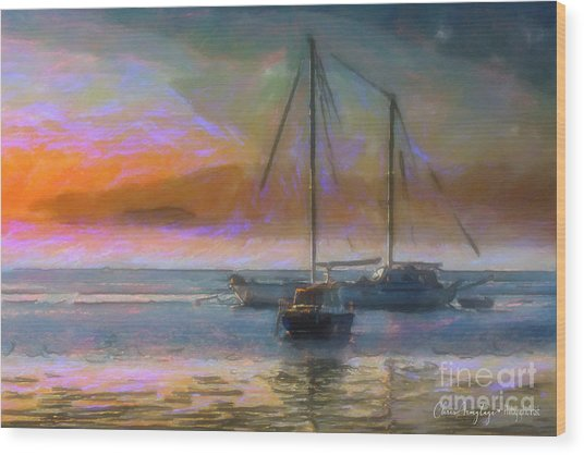 Sunrise With Boats Wood Print