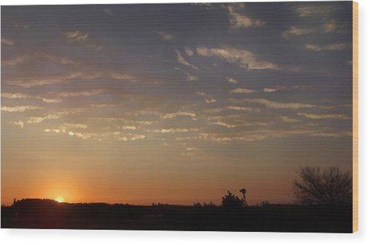 Sunrise With Windmill Wood Print