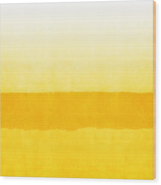 Sunrise- Yellow Abstract Art By Linda Woods Wood Print