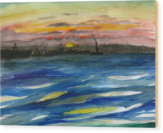 Sunset 29 San Diego Harbor Wood Print