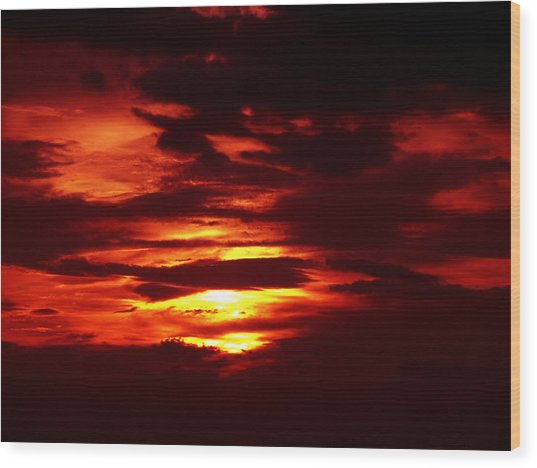 Sunset 3 Wood Print by Evelyn Patrick
