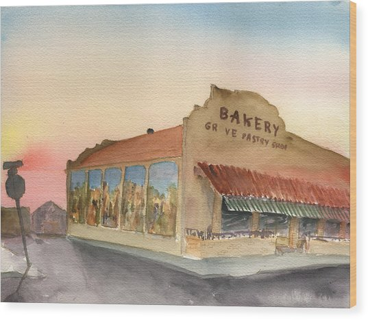 Sunset 38 Grove Pastry Shop Wood Print