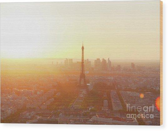 Sunset Above Paris Wood Print