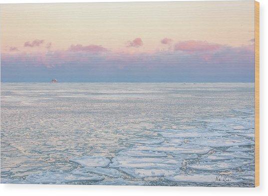Sunset Across The Frozen Lake Wood Print