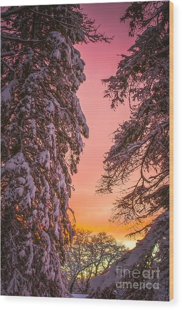 Sunset After Snow Wood Print