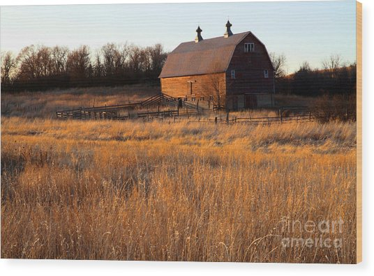 Sunset And Barn Wood Print