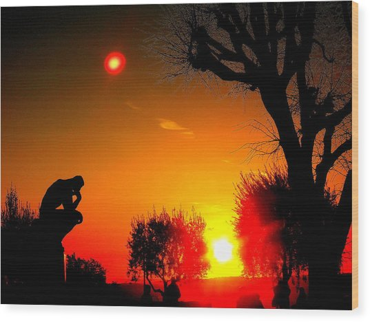 Sunset And Moon In France Wood Print