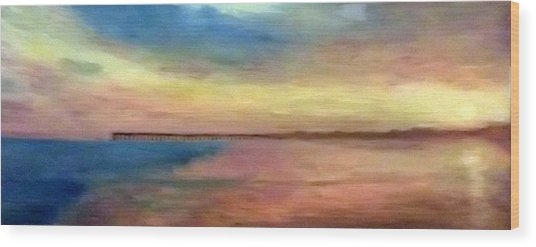 Sunset And Pier Wood Print