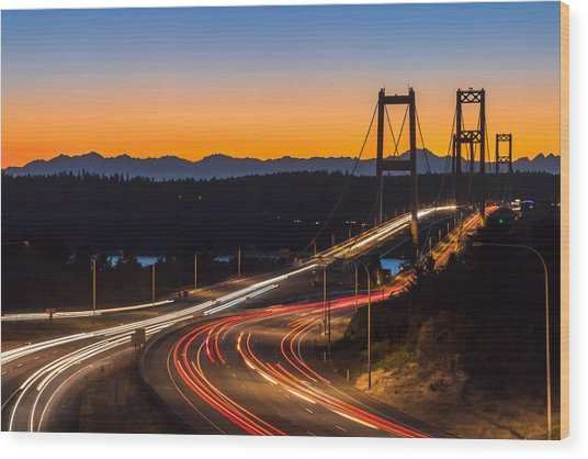 Sunset And Streaks Of Light - Narrows Bridges Tacoma Wa Wood Print