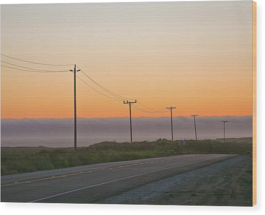 Sunset And Telephone Wires Wood Print by Liz Santie