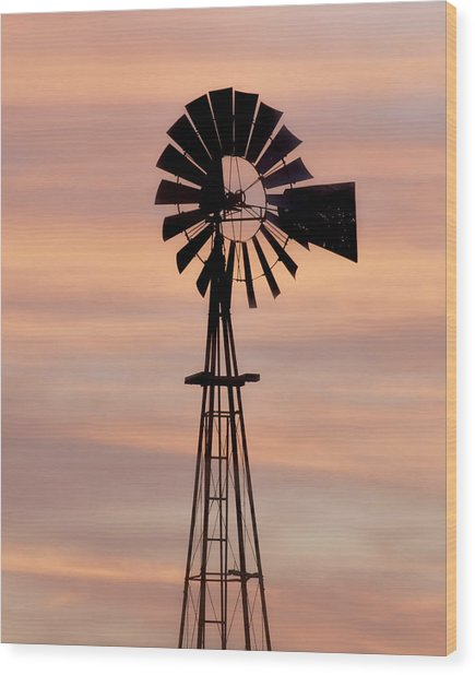 Sunset And Windmill 06 Wood Print