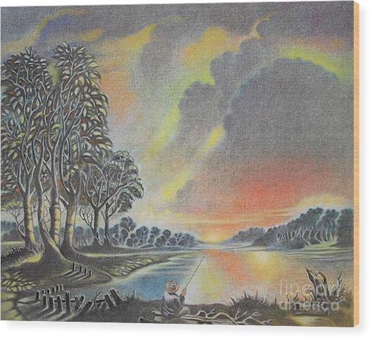 Sunset Angler Wood Print