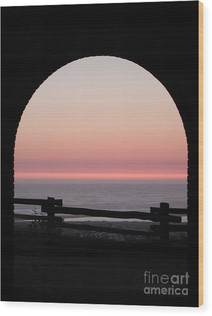 Sunset Arch With Fog Bank Wood Print