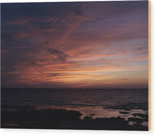 Sunset At Achziv Beach Wood Print