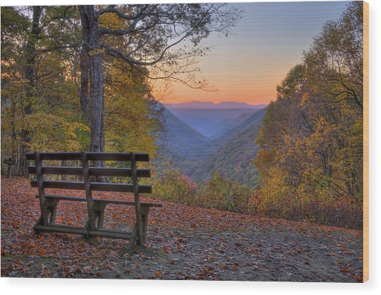 Sunset At Babcock Wood Print by Williams-Cairns Photography LLC