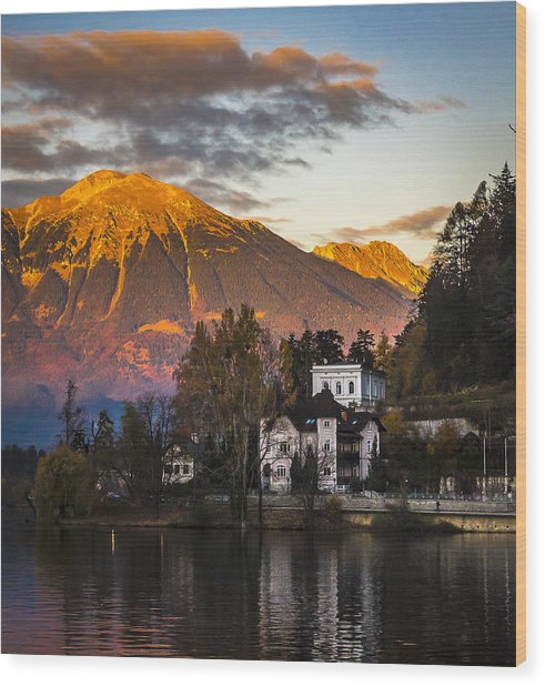 Sunset At Bled Wood Print