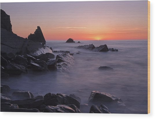 Sunset At Blegberry Beach Wood Print