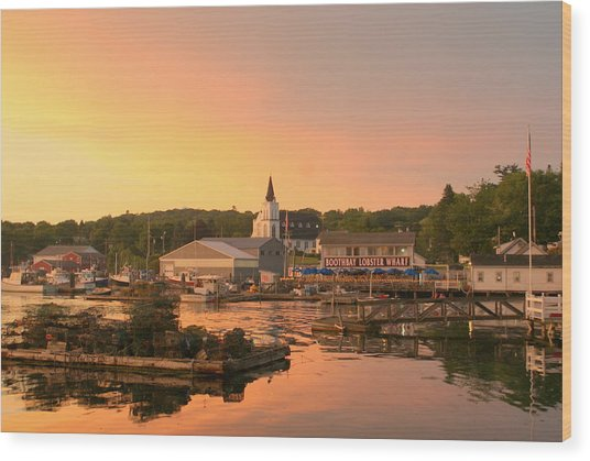 Sunset At Boothbay Harbor Wood Print