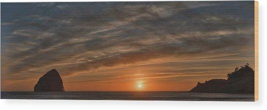 Sunset At Cape Kiwanda Wood Print