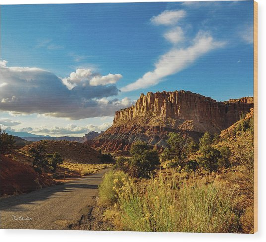 Sunset At Capitol Reef Wood Print