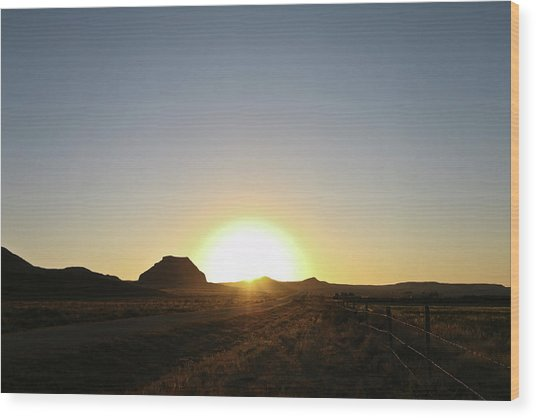 Sunset At Castle Butte Sk Wood Print