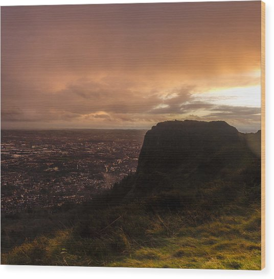 Sunset At Cavehill Wood Print