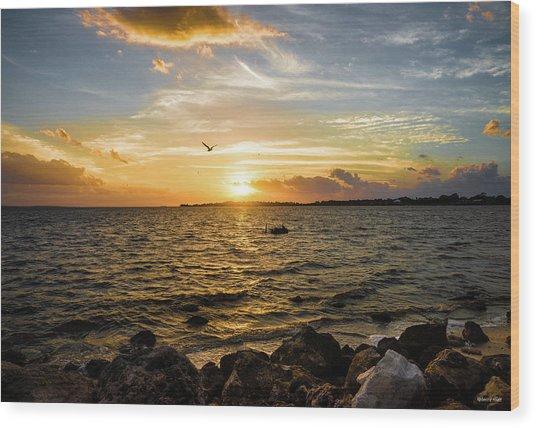 Sunset At Cedar Key Wood Print