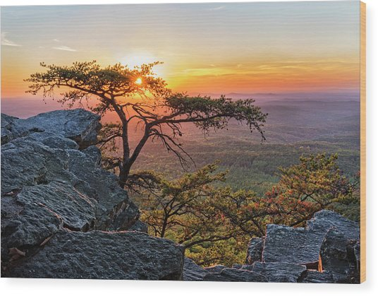 Sunset At Cheaha Overlook 1 Wood Print