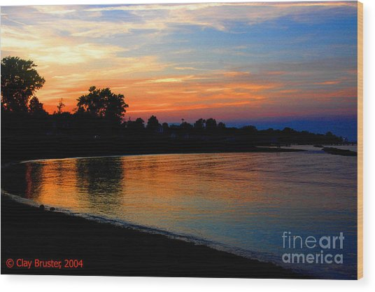 Sunset At Colonial Beach Cove Wood Print