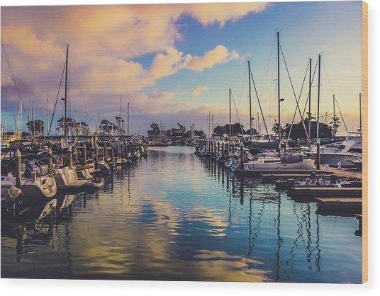 Sunset At Dana Point Harbor Wood Print