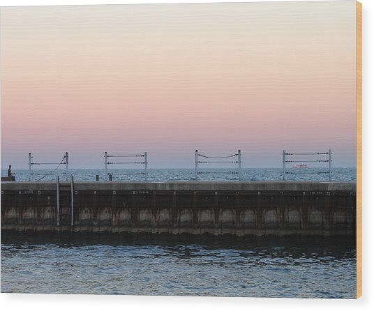 Sunset At Diversey Harbor Wood Print