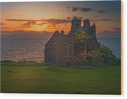 Sunset At Dunure Castle Wood Print