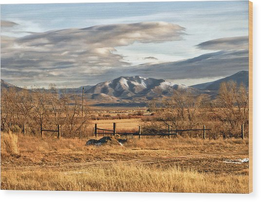 Sunset At Elk Mountain Wy Wood Print