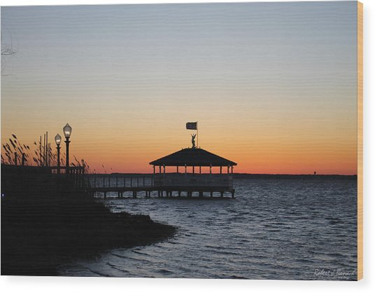 Sunset At Fagers Island Gazebo Wood Print
