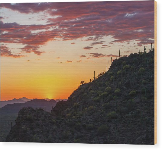 Sunset At Gate's Pass Wood Print